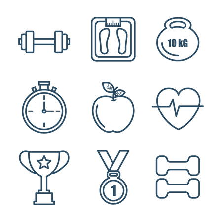 Hand drawn healthy lifestyle related icons over white background vector illustration Иллюстрация