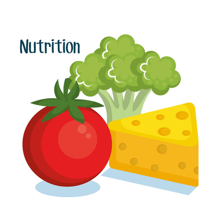 Cheese tomato and broccoli over white background vector illustration Illustration