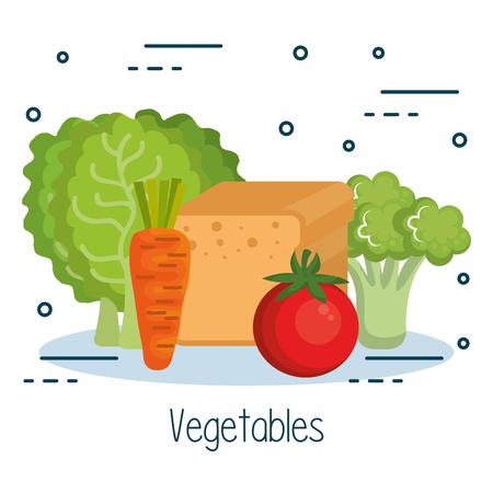 Vegetables and bread loaf over white background vector illustration