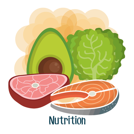 Meat fish avocado and lettuce over white and orange background vector illustration