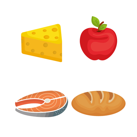 farmer market: Healthy food icon set over white background vector illustration
