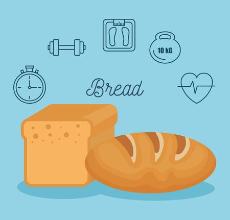 Brotlaibe und Hand gezeichneter gesunder Lebensstil bezogen sich Gegenstände über blauer Hintergrundvektorillustration Standard-Bild - 81144490