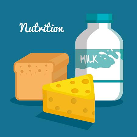 Milchflaschenkäse und Brotlaib über blauer Hintergrundvektorillustration Standard-Bild - 81144491