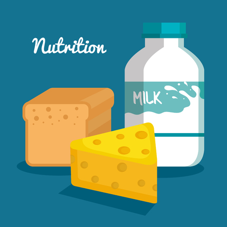 Milk bottle cheese and bread loaf over blue background vector illustration Stok Fotoğraf - 81144491