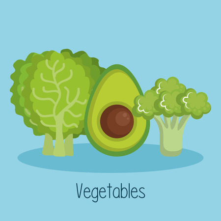 Lettuce broccoli and avocado over blue background vector illustration 向量圖像
