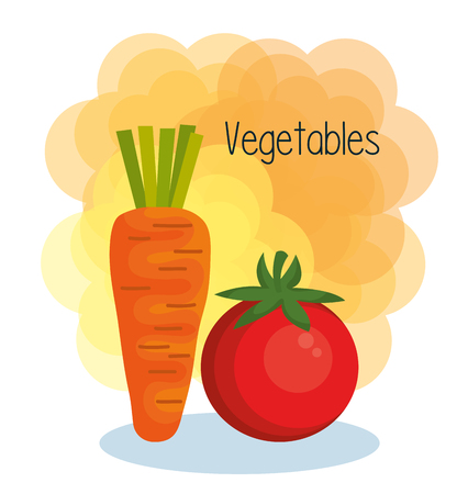 Carrot and tomatoo over white and orange background vector illustration Illustration