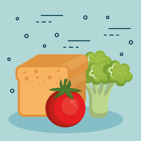Tomato broccoli and bread loaf over light background vector illustration