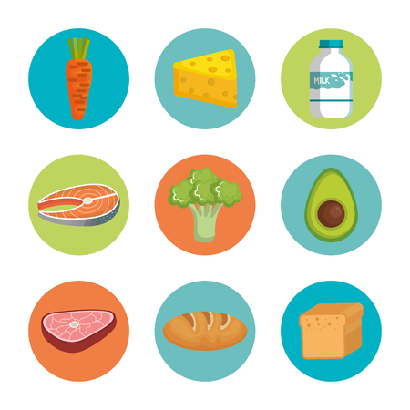 Healthy food icon set over white background vector illustration