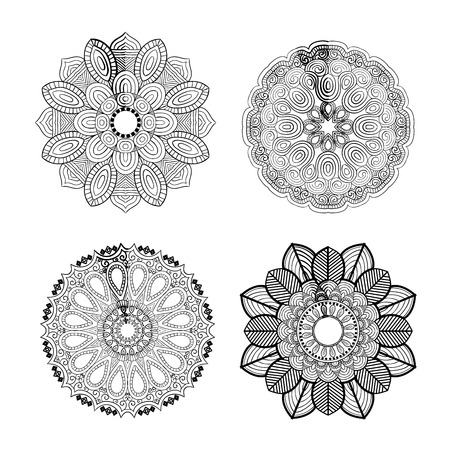 아름 다운 만다라 desing 꽃 디자인 인도 벡터 아이콘 일러스트