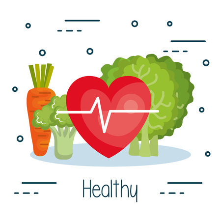 Heart with electrocardiogram and vegetables over white background vector illustration Illustration