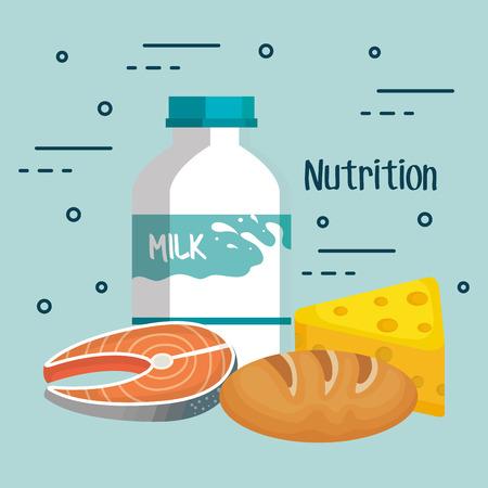 明るい背景ベクトル図で牛乳チーズ魚やパン パン