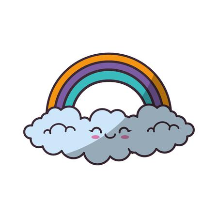 Beautiful rainbow cartoon icon vector illustration graphic design Illustration