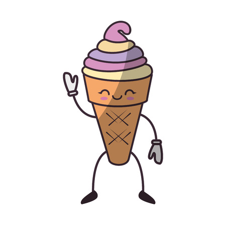 Delicious cone ice cream icon vector illustration graphic design