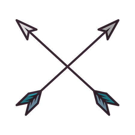 Boog pijlen gekruist pictogram vector illustratie grafisch ontwerp Vector Illustratie