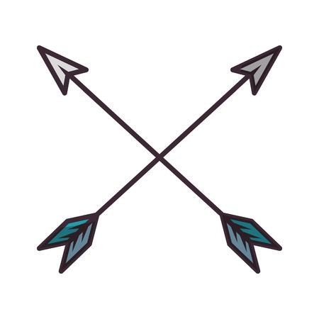 Frecce incrociate incrociate icona illustrazione vettoriale illustrazione grafica Vettoriali
