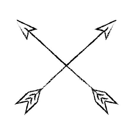 Bow arrows crossed icon vector illustration graphic design Illustration
