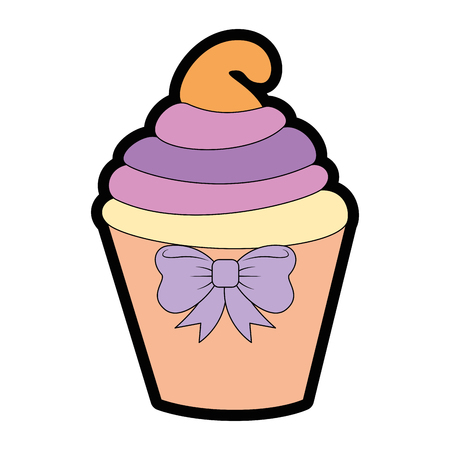 Delicious cupcake cartoon icon vector illustration graphic design