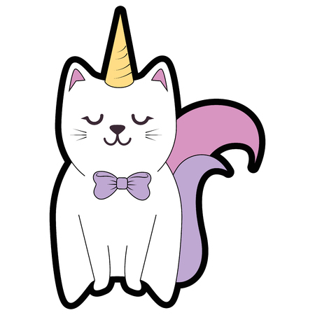 Het leuke grafische ontwerp van de het pictogram vectorillustratie van het kattenbeeldverhaal
