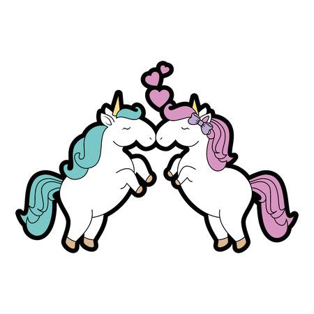Cute unicorns cartoon icon vector illustration graphic design