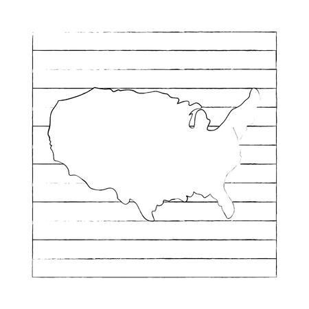 アメリカ合衆国地図シルエットアイコンベクトルイラストグラフィックデザイン  イラスト・ベクター素材