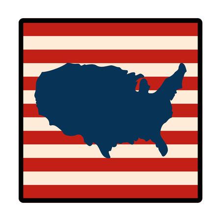 アメリカ合衆国地図シルエット アイコン ベクトル イラスト グラフィック デザイン