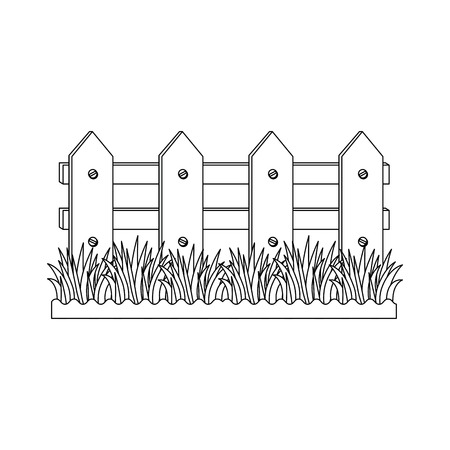 Wooden fence garden icon vector illustration graphic design