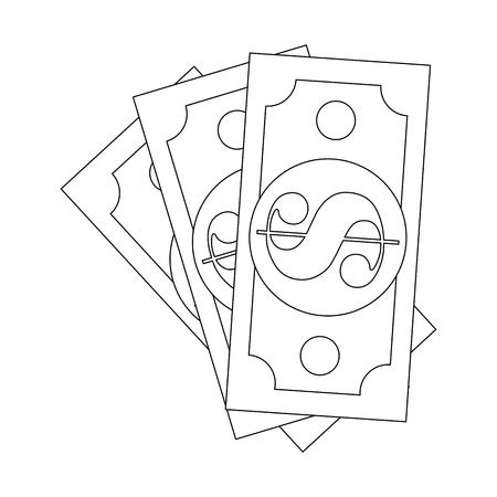 돈 법안 격리 된 아이콘 벡터 일러스트 레이 션 그래픽 디자인