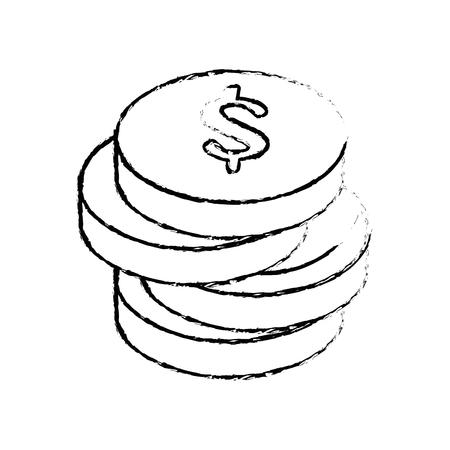 돈 동전 아이콘 벡터 일러스트 그래픽 디자인 쌓여 스톡 콘텐츠 - 81222100