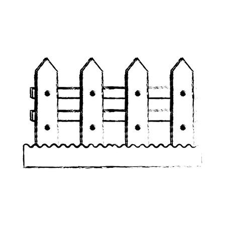 Houten grafisch de illustratie grafisch ontwerp van het omheiningstuinpictogram