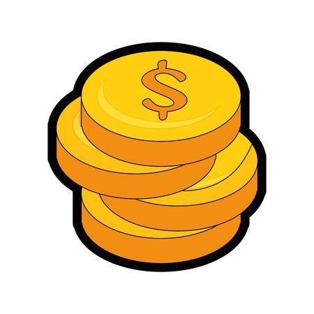 돈 동전 아이콘 벡터 일러스트 그래픽 디자인 쌓여 스톡 콘텐츠 - 81188498