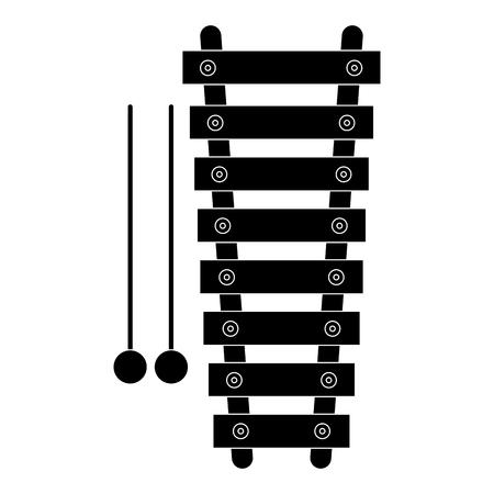 Een ontwerp van de het pictogram vectorillustratie van het xylofooninstrument muzikaal.