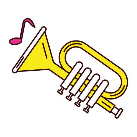 Una progettazione dell'illustrazione di vettore dell'icona dello strumento musicale della tromba. Archivio Fotografico - 81185183