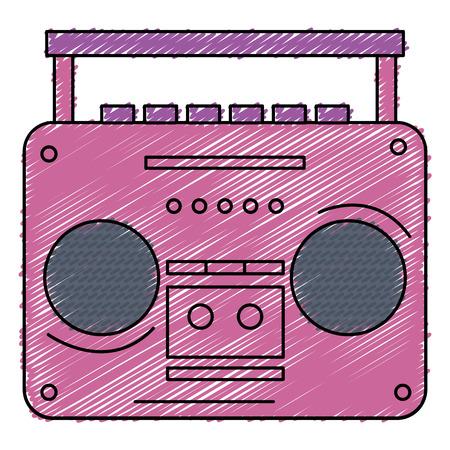 오래 된 음악 플레이어 아이콘 벡터 일러스트 디자인