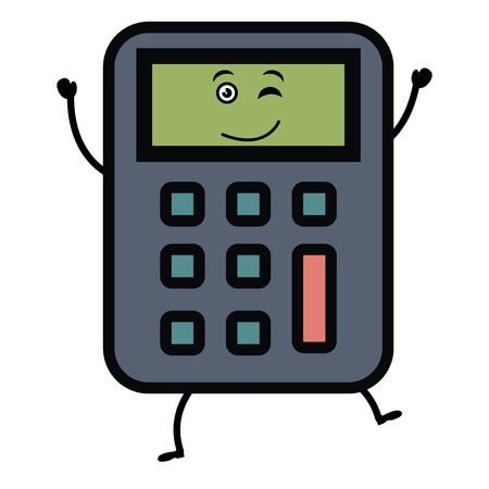 calculator math kawaii character vector illustration design