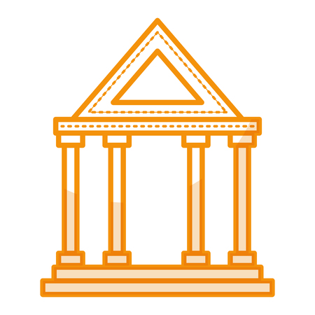 roman pillar: A bank building isolated icon vector illustration design.