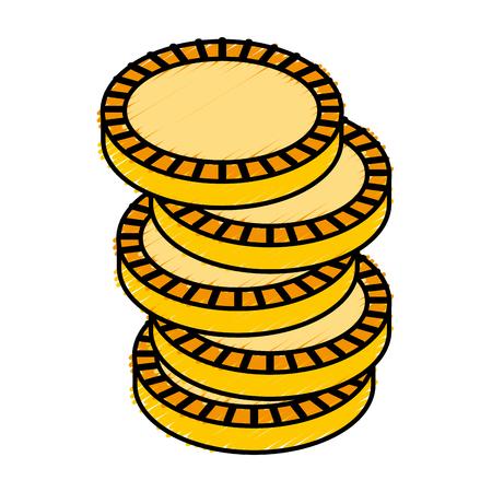 argent pièce icône isolé illustration vectorielle conception