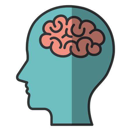A human profile with brain icon vector illustration design.