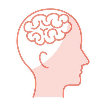 A A human profile with brain icon vector illustration design.
