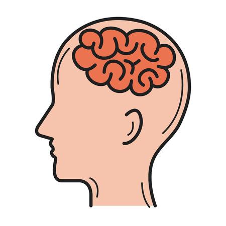 Human profile with brain icon vector illustration design