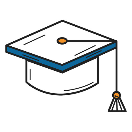 卒業の帽子アイコン ベクトル イラスト デザインを分離しました。