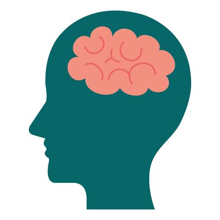 human profile with brain icon vector illustration design Иллюстрация