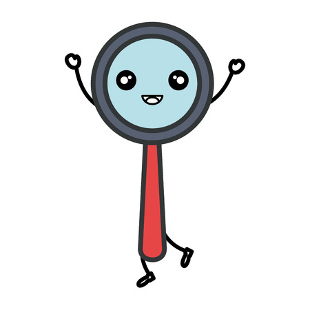 inspect: search magnifying glass kawaii character vector illustration design