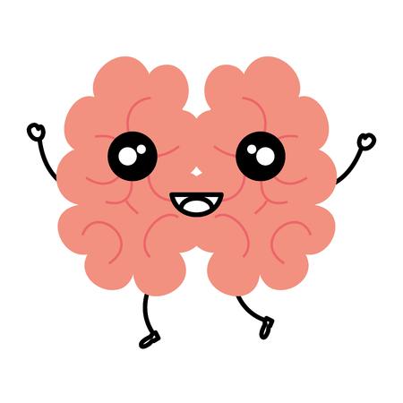 Human brain kawaii character vector illustration design.