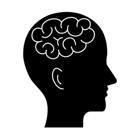 A human profile with brain icon vector illustration design