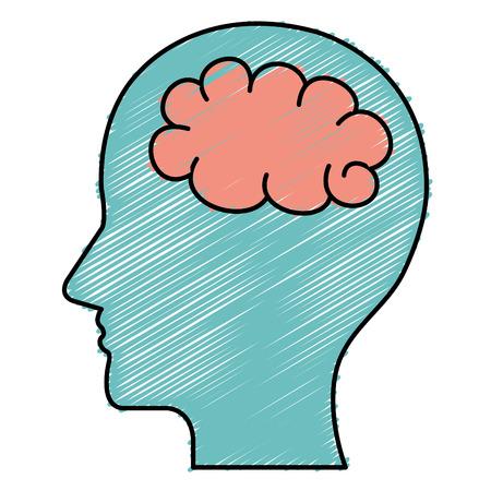 human profile with brain icon vector illustration design Illustration