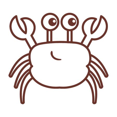 schattig krab karakter pictogram vector illustratie ontwerp