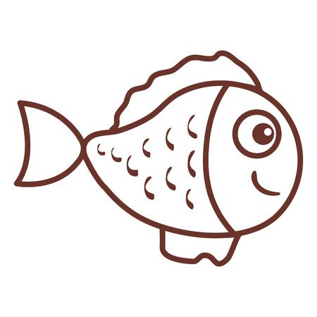 Diseño lindo del ejemplo del vector del icono ornamental de los pescados Foto de archivo - 81271607