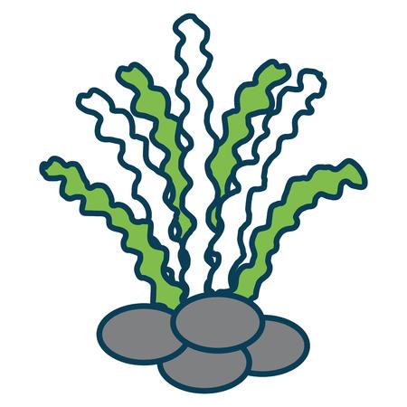 mar hierba icono aislado diseño de la ilustración vectorial