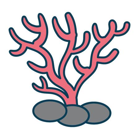해양 산호 격리 아이콘 벡터 일러스트 디자인