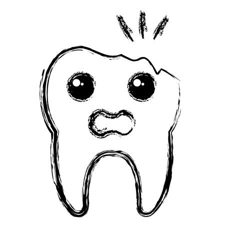 깨진 된 치아 문자 격리 된 아이콘 벡터 일러스트 레이 션 디자인